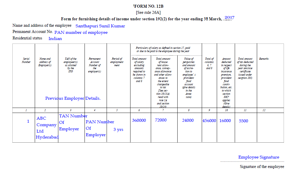 sample filled form 12B | how to fill form 12B