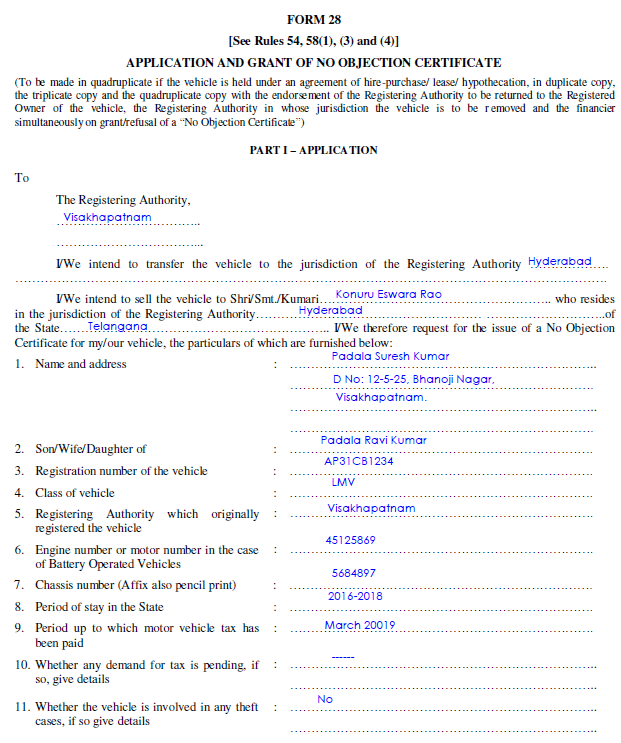 RTO Form 28 Sample Filled