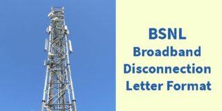 BSNL Broadband Disconnection Letter Format