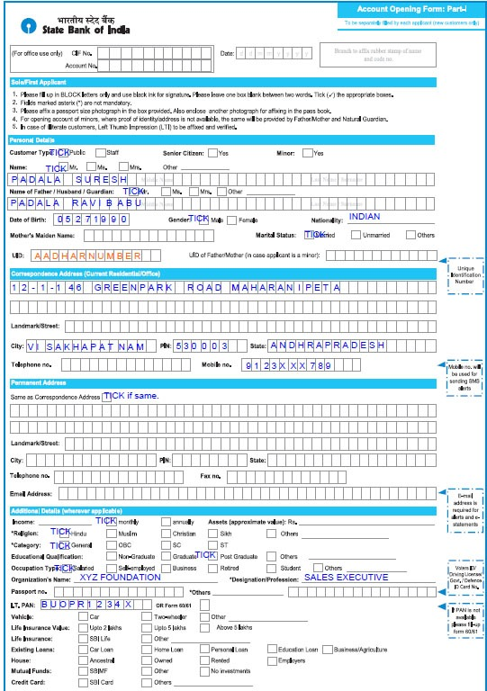 state bank account opening form fill