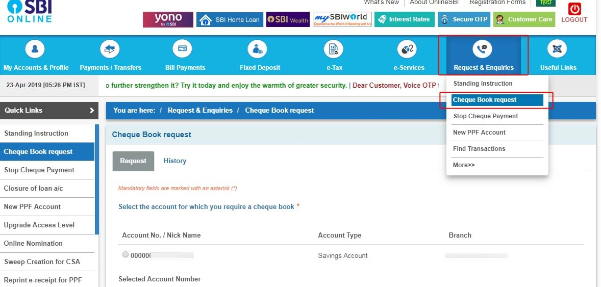 SBI Cheque Book Request By Internet Banking