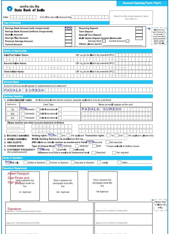 Sample Filled SBI Account Opening Form