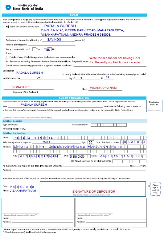 Sample Filled SBI Form 60 and Declaration Form