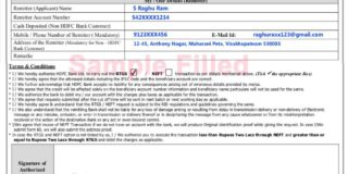 HDFC RTGS form filling sample