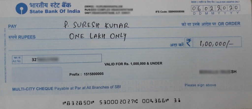How to Write One Lakh on Cheque Image