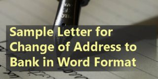 Sample Letter for Change of Address to Bank in Word Format