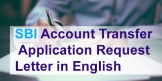 SBI Account Transfer Application Request Letter in English