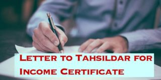 Letter to Tahsildar for Income Certificate