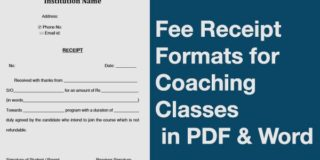 Fee Receipt Format for Coaching Classes in PDF & Word Formats