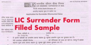 LIC Surrender Form Filled Sample 5074:3510