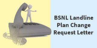 BSNL Landline Plan Change Request Letter Format