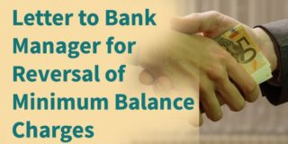 Letter to Bank Manager for Reversal of Minimum Balance Charges