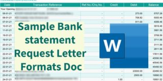 Sample Bank statement Request Letter Formats Doc