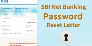 SBI Internet Banking Password Reset Letter