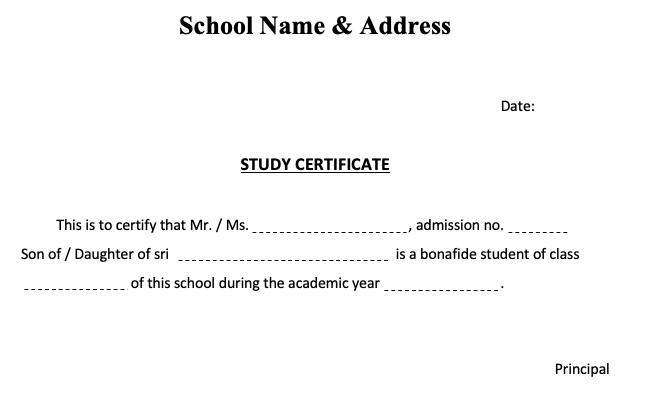 Andhra pradesh school study certificate format