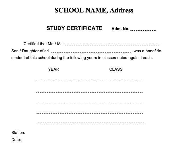 AP school study certificate format