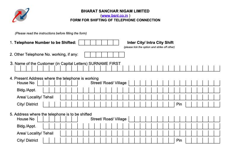 BSNL landline address change form